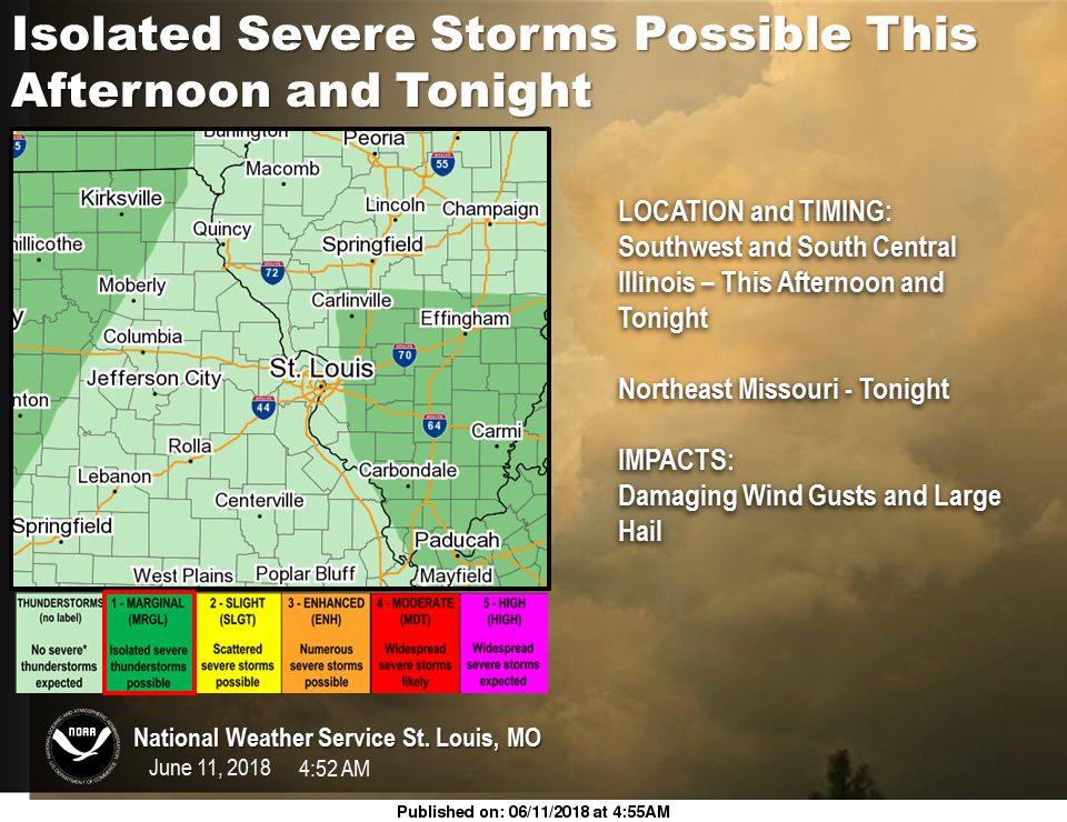 Isolated Severe Storms are possible for this afternoon & tonight