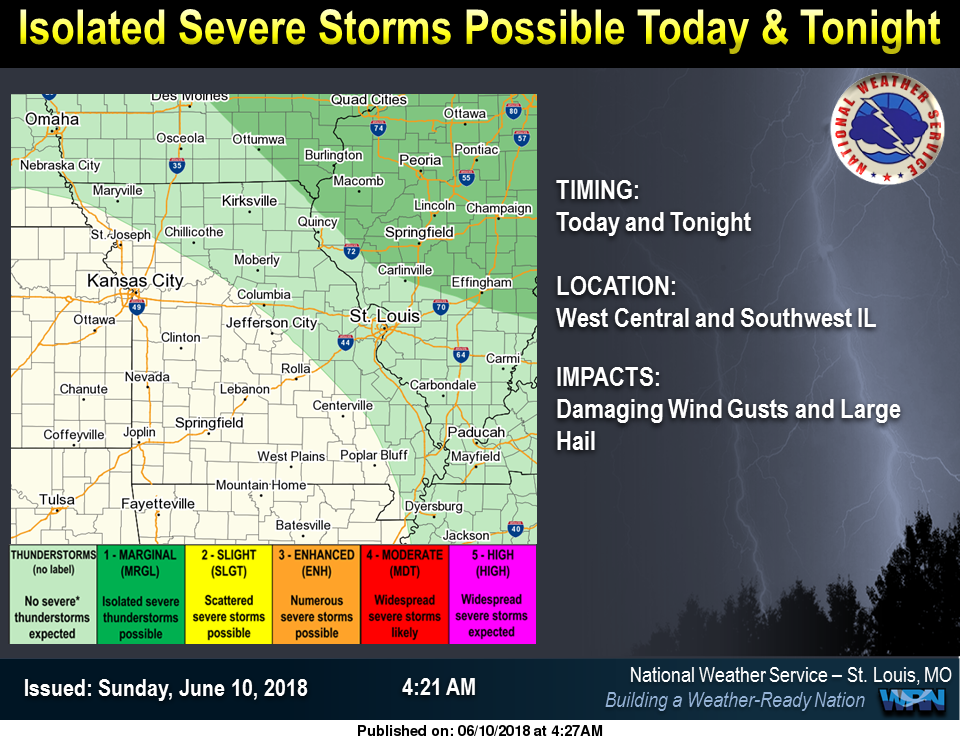 Isolated Severe Storms are possible for today & tonight