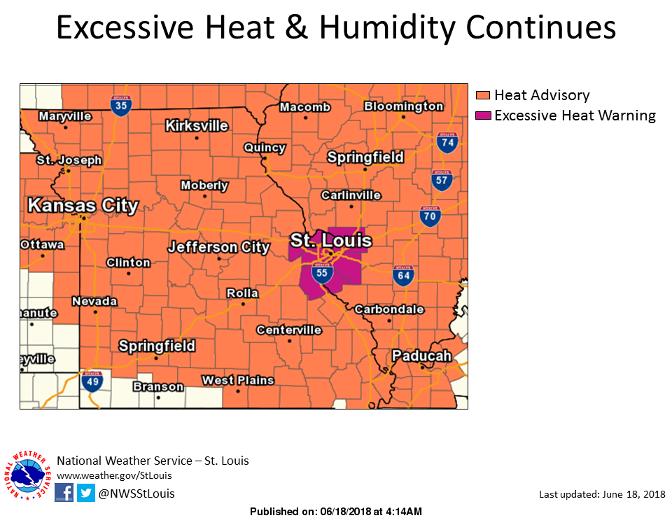 Heat Advisory now in effect until 8 pm Tuesday