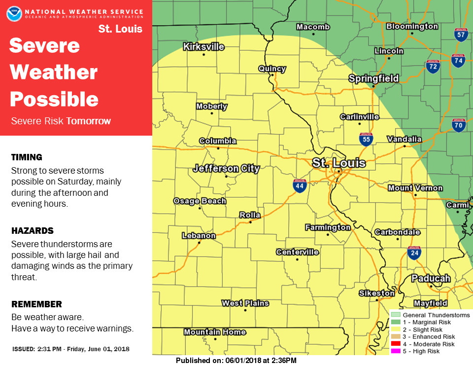 NWS says severe storms possible Saturday afternoon & evening
