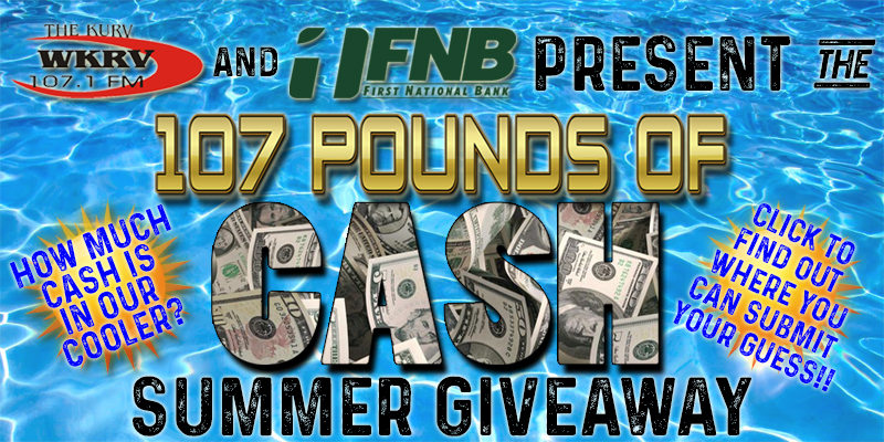 Feature: http://www.vandaliaradio.com/2018/06/26/wkrvfnb-107-pounds-of-cash-summer-giveaway-sponsors/