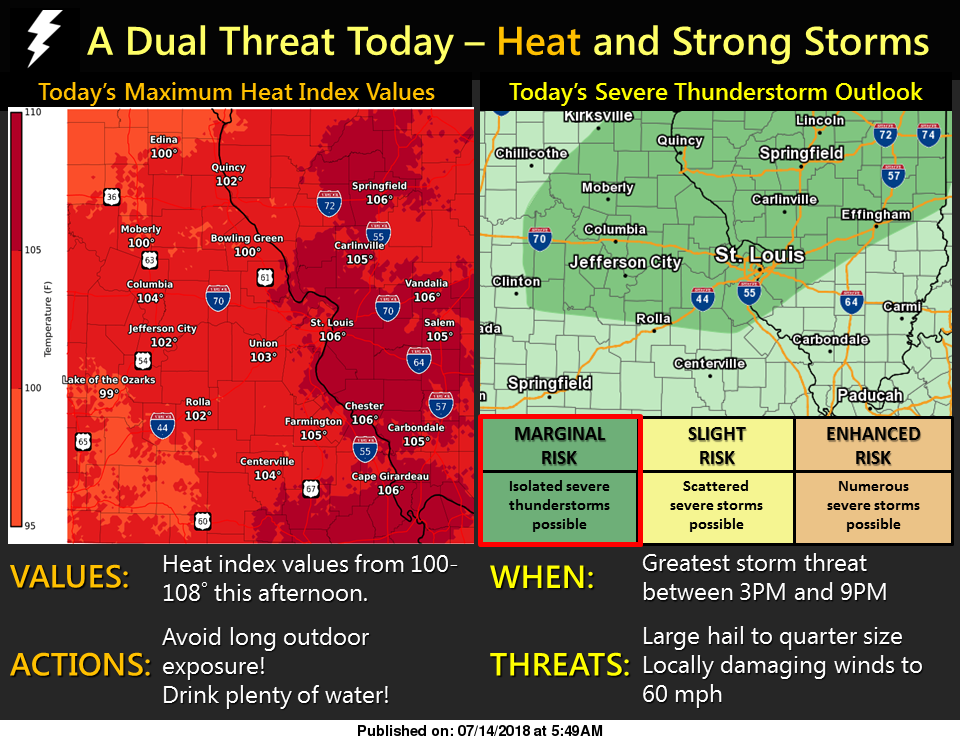 Hot & Humid today--Storms possible this afternoon & tonight