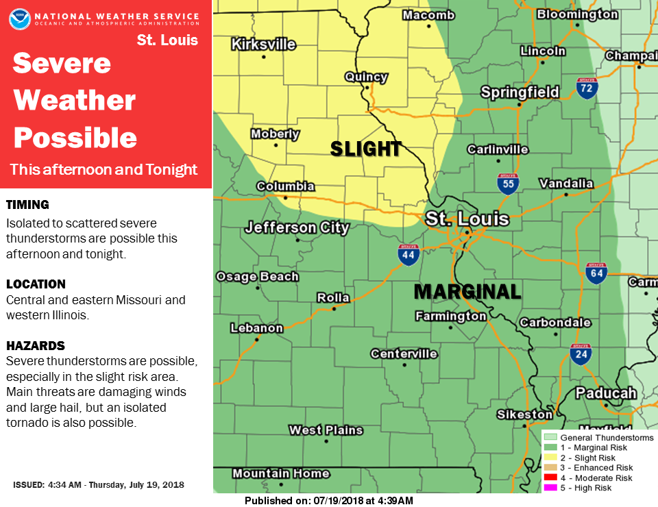 Severe Storms are possible for the area this afternoon & tonight