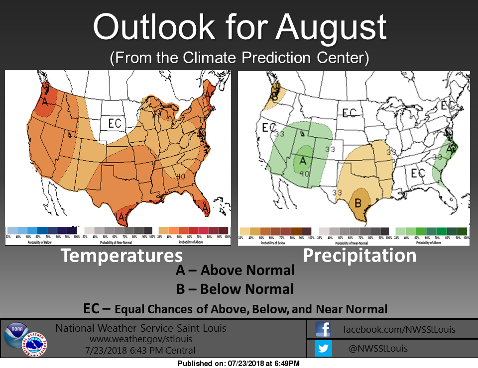 Above Average Temperatures expected for August