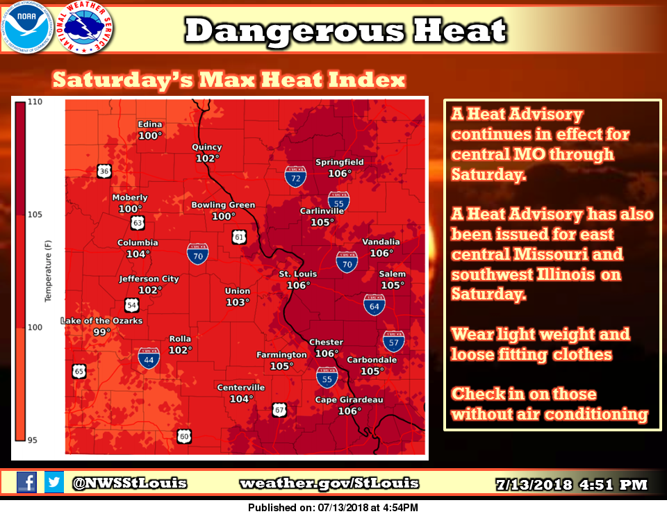 Heat Advisory in effect from 9 am to 8 pm today