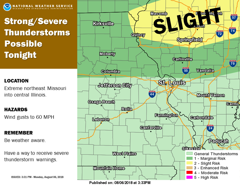 Severe Storms are possible for the area tonight