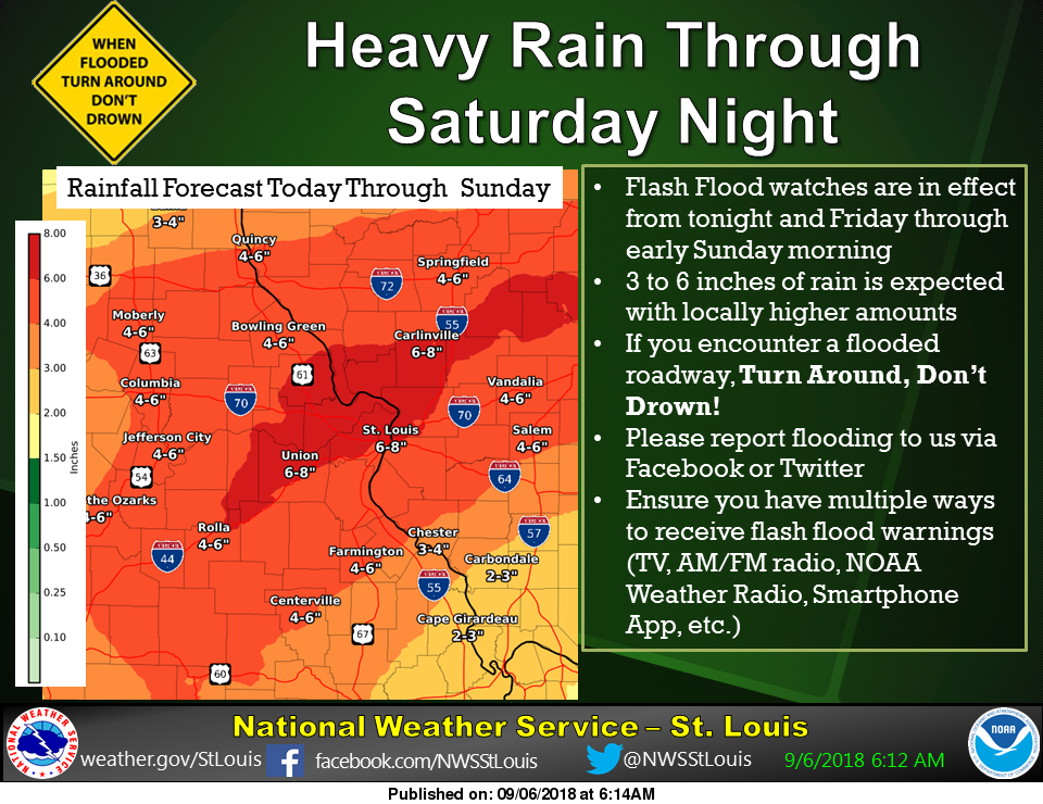 Heavy Rains on the Way---4 to 6 inches in our area thru Saturday night