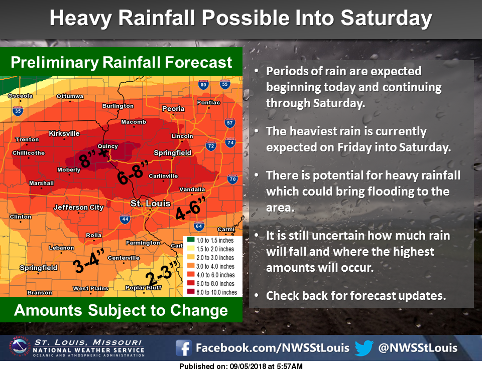 Heavy Rains on the way to the area thru Saturday