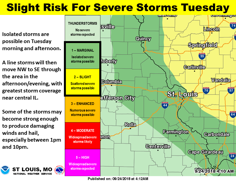 Showers & Storms today and tonight, severe storms possible on Tuesday