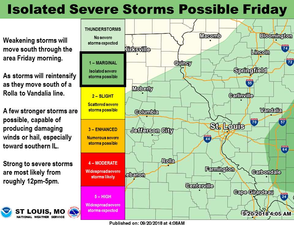 Isolated severe storms are possible on Friday