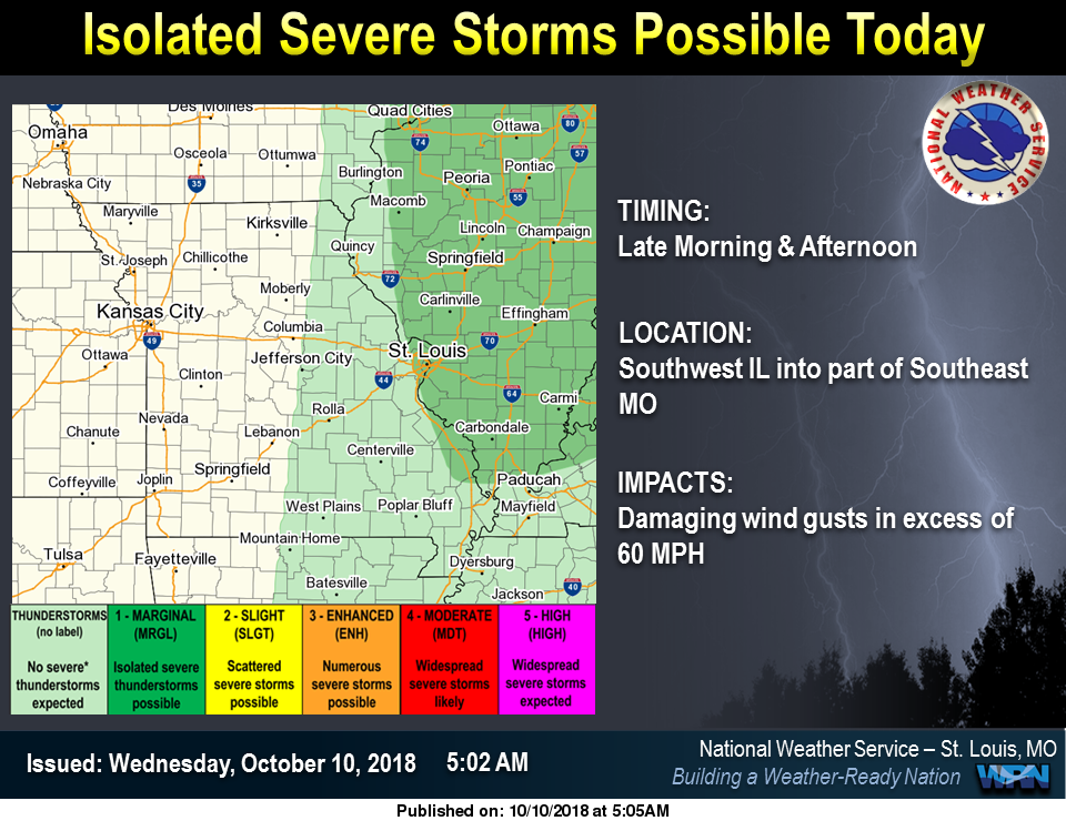 Isolated Severe Storms possible today, much cooler temps to follow