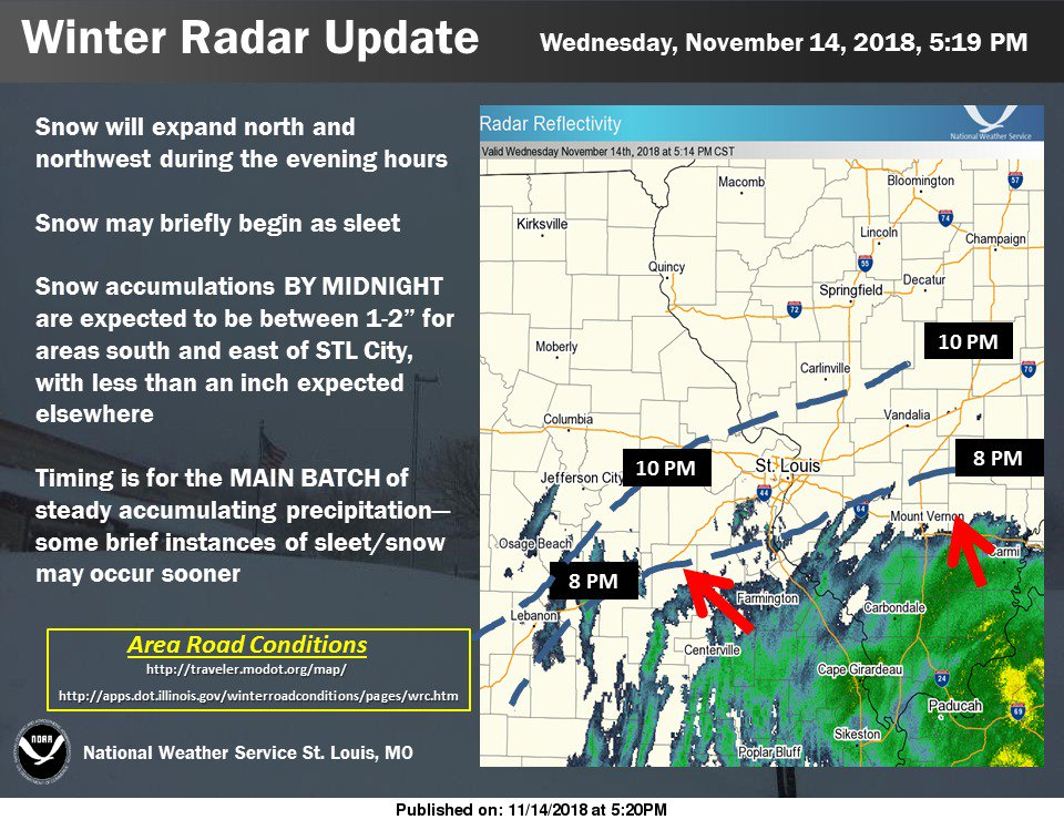 NWS updates latest snow track---looks to arrive to area earlier than originally predicted
