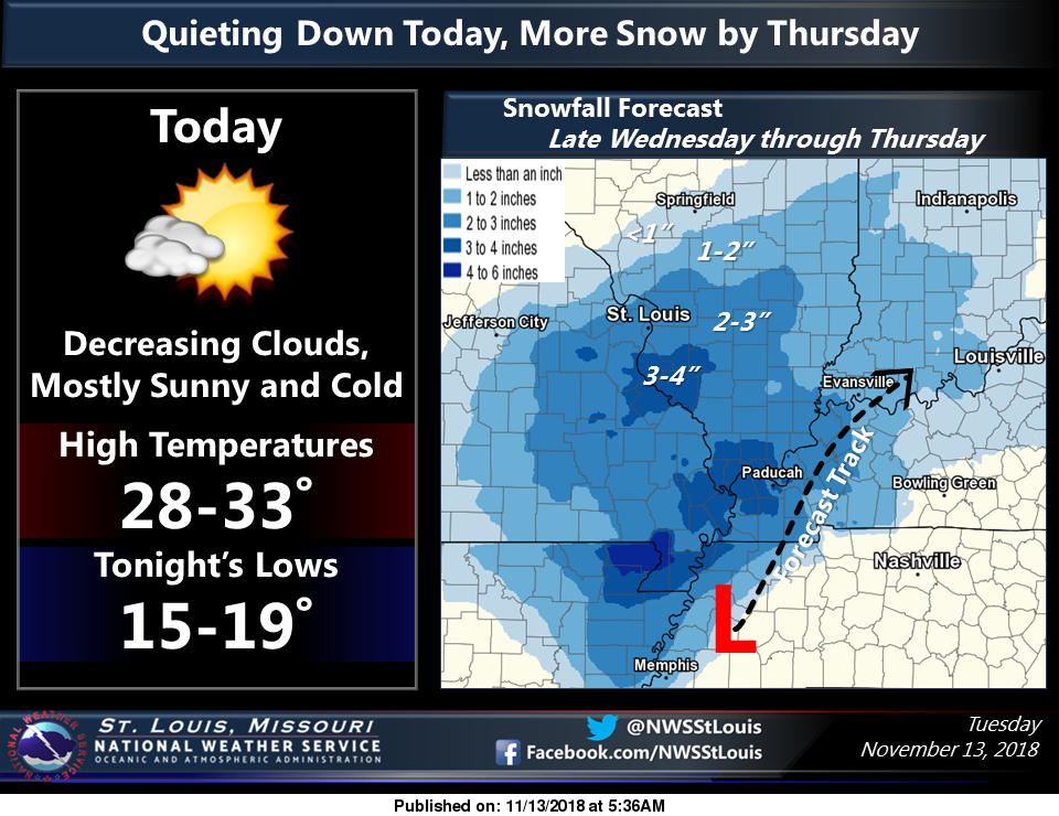 Snow & Ice on the Way starting Wednesday night and throughout the day Thursday--could see 2 to 3 inches