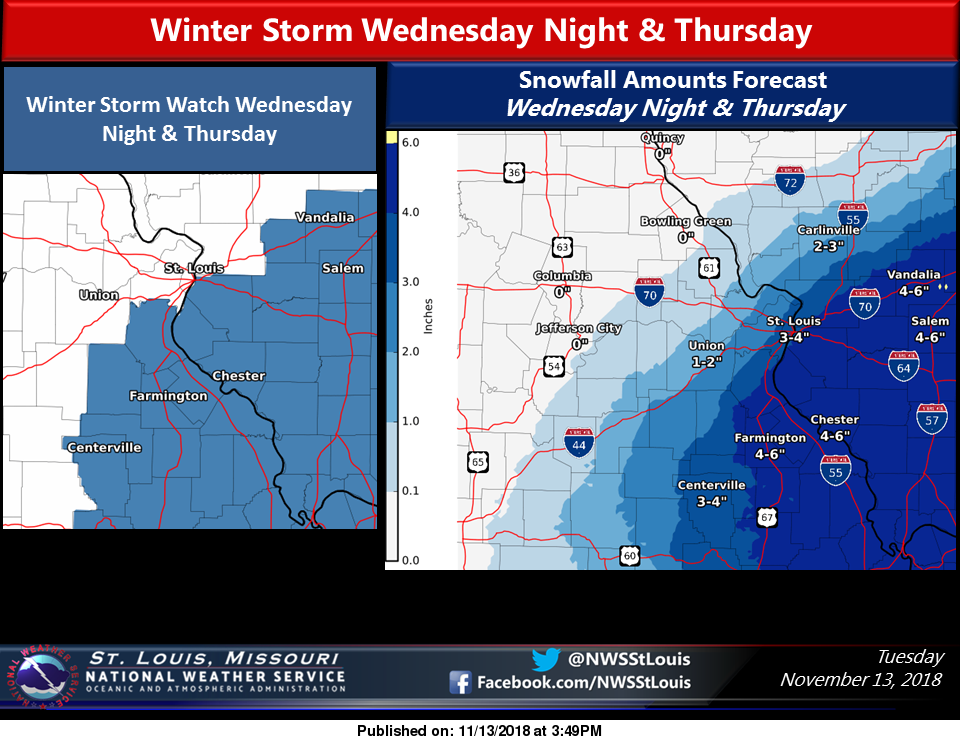 """Newest Info from NWS showing 5"""" of Snow for area on Wednesday night/Thursday"""