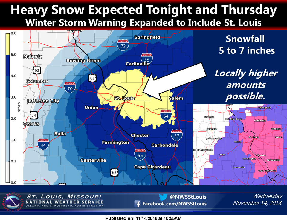 Latest forecast showing even more snow for our area--the bulk to come late tonight/early Thursday