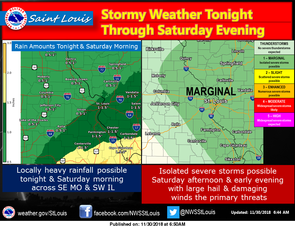 Heavy rains tonight and Saturday, severe storms also possible on Saturday afternoon & evening.