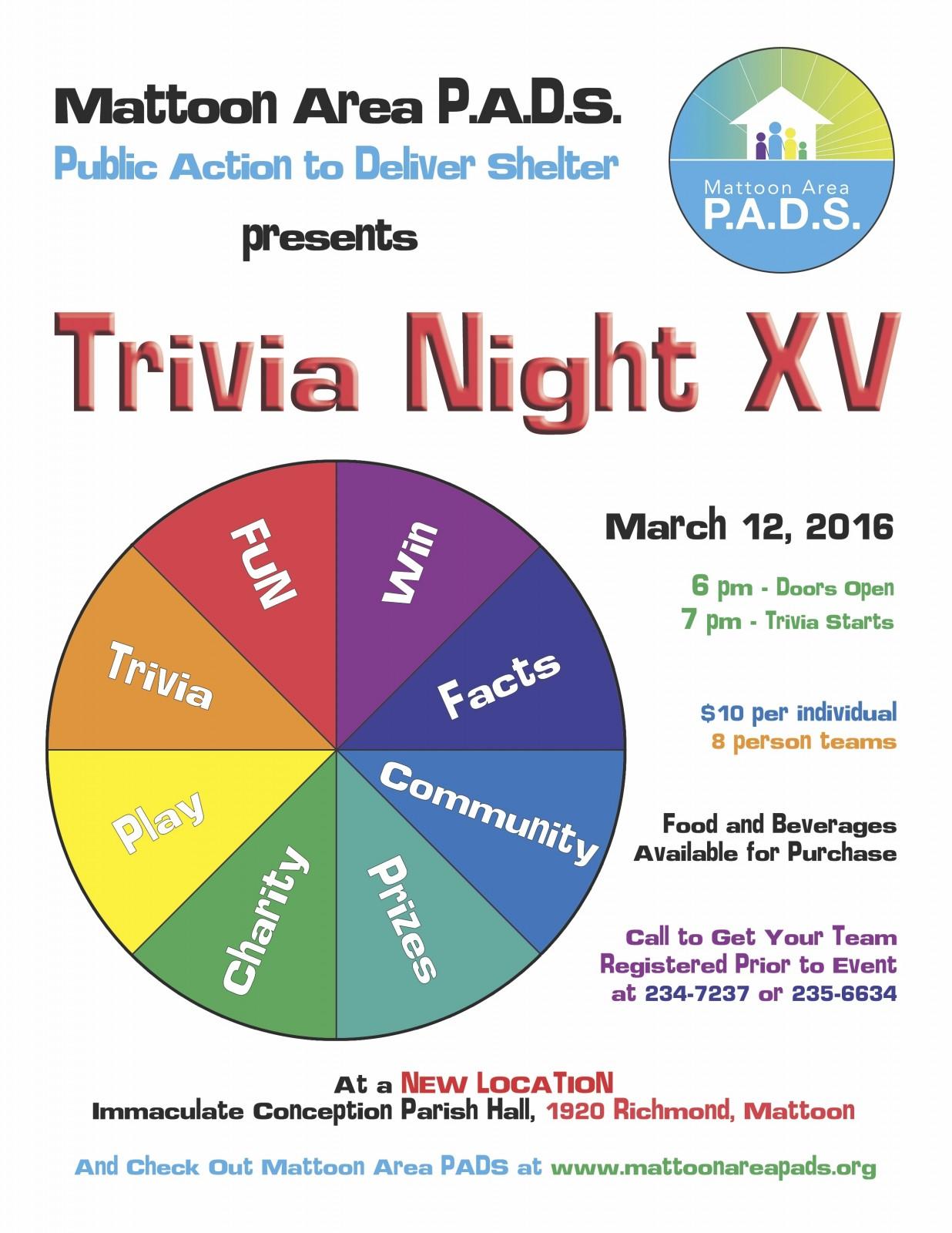 Trivia Night XV with Mattoon Area P.A.D.S.