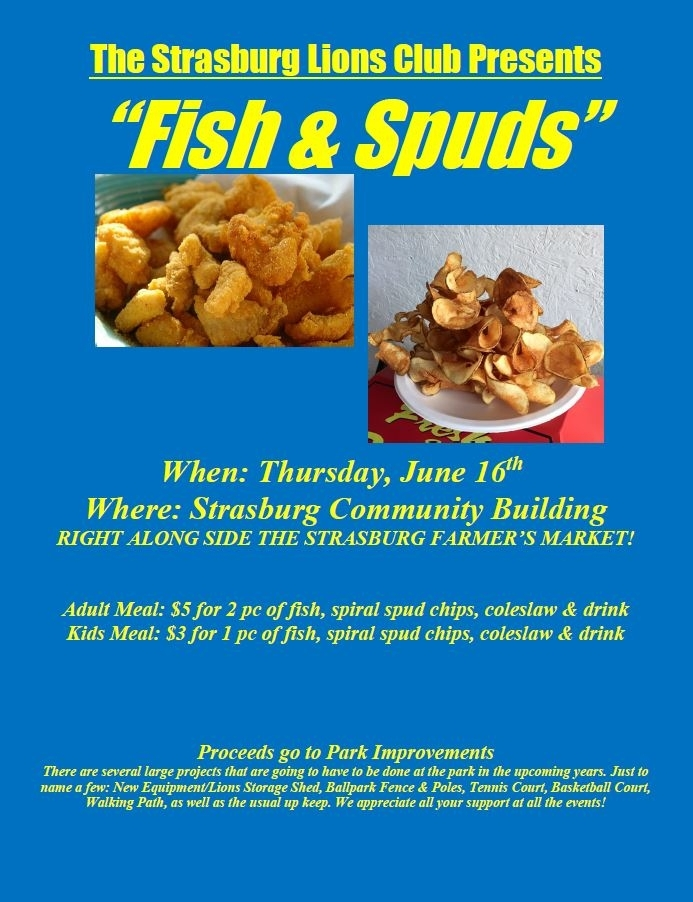 """The Strasburg Lions Club presents """"Fish & Spuds"""" at the Farmers Market"""