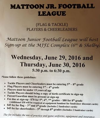 Mattoon JFL Sign Ups for Players & Cheerleaders