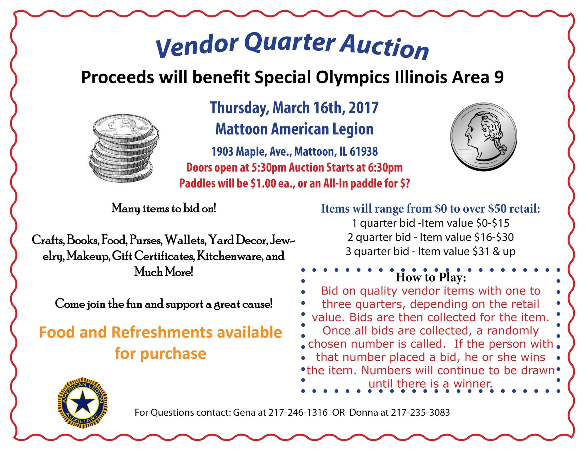 Quarter Auction to benefit Special Olympics