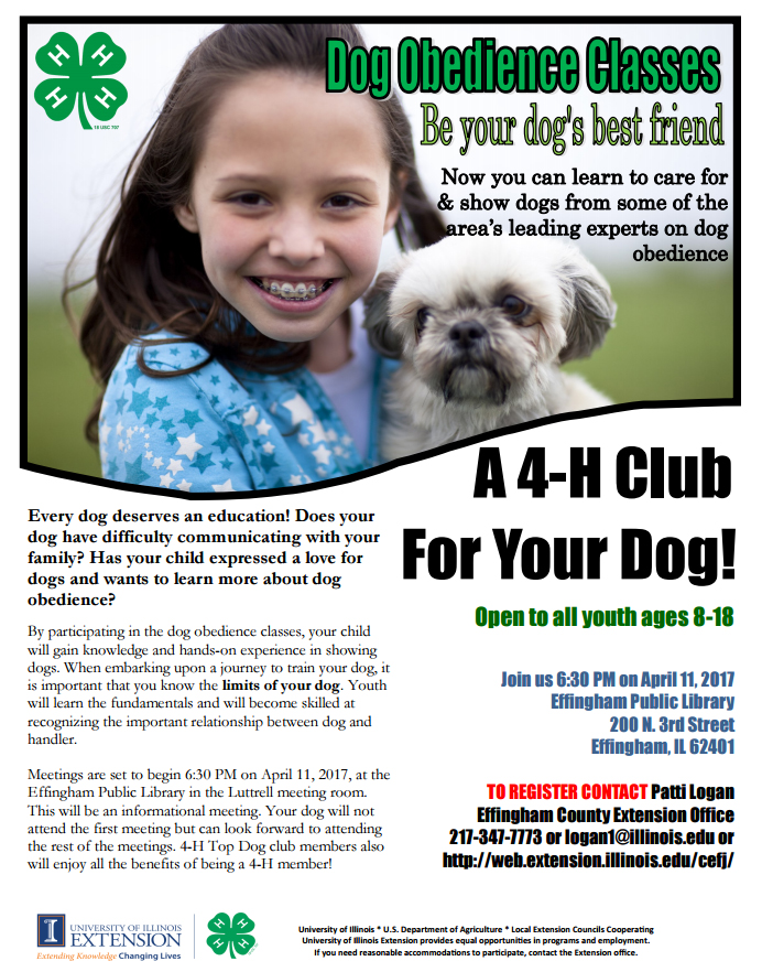 Effingham County 4 H Dog Obedience Classes For Youth Only