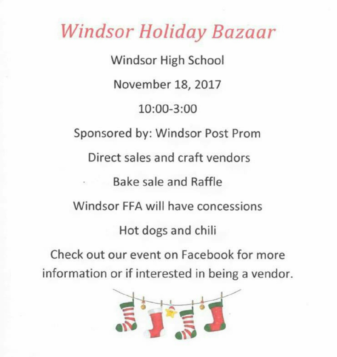 Windsor Holiday Buzaar Saturday