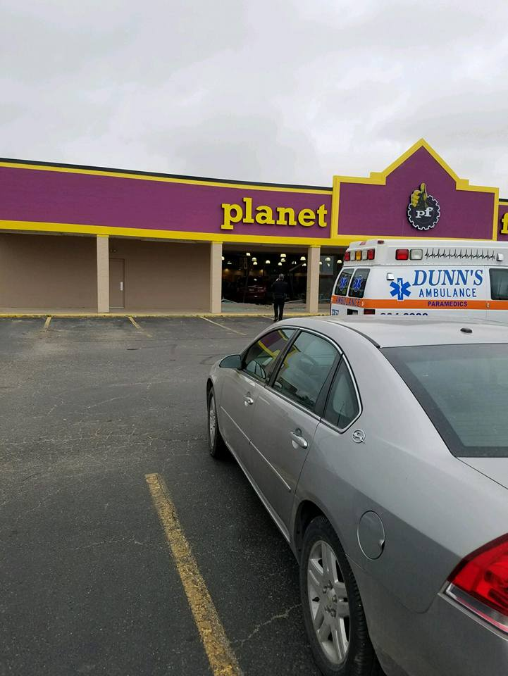 Vehicle Drives into Planet Fitness
