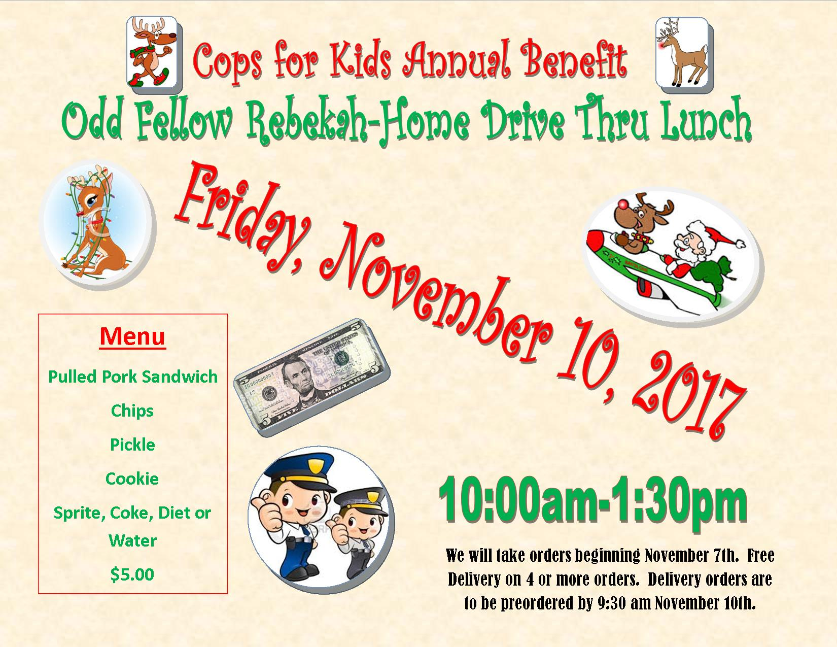Cops for Kids Dirve-Through Lunch Friday