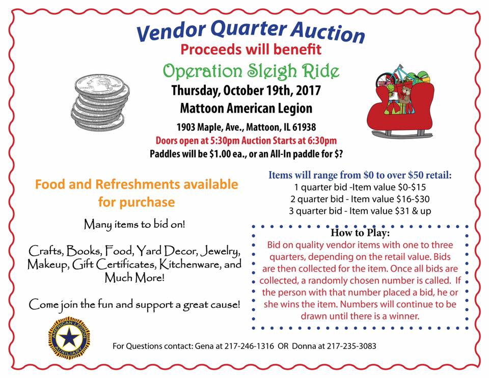 Quarter Auction for Mattoon Fire Sleighride