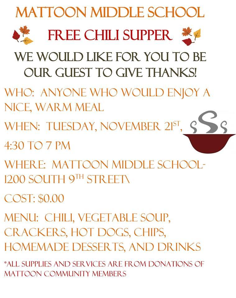 Free Chili Supper in Mattoon