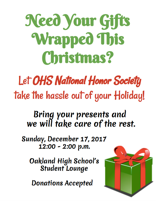 Gifts Wrapped for Free Will Donations