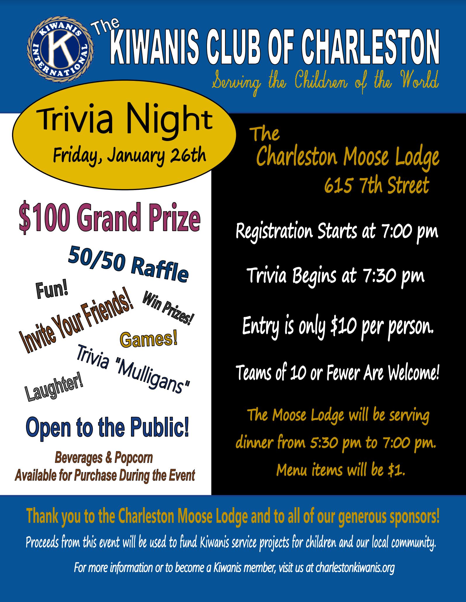 Charleston Kiwanis Trivia Night