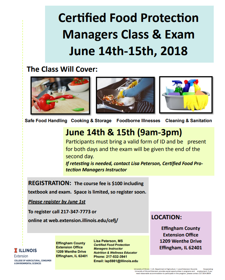 University of Illinois Extension offering Certified Food Protection Managers Class & Exam in June
