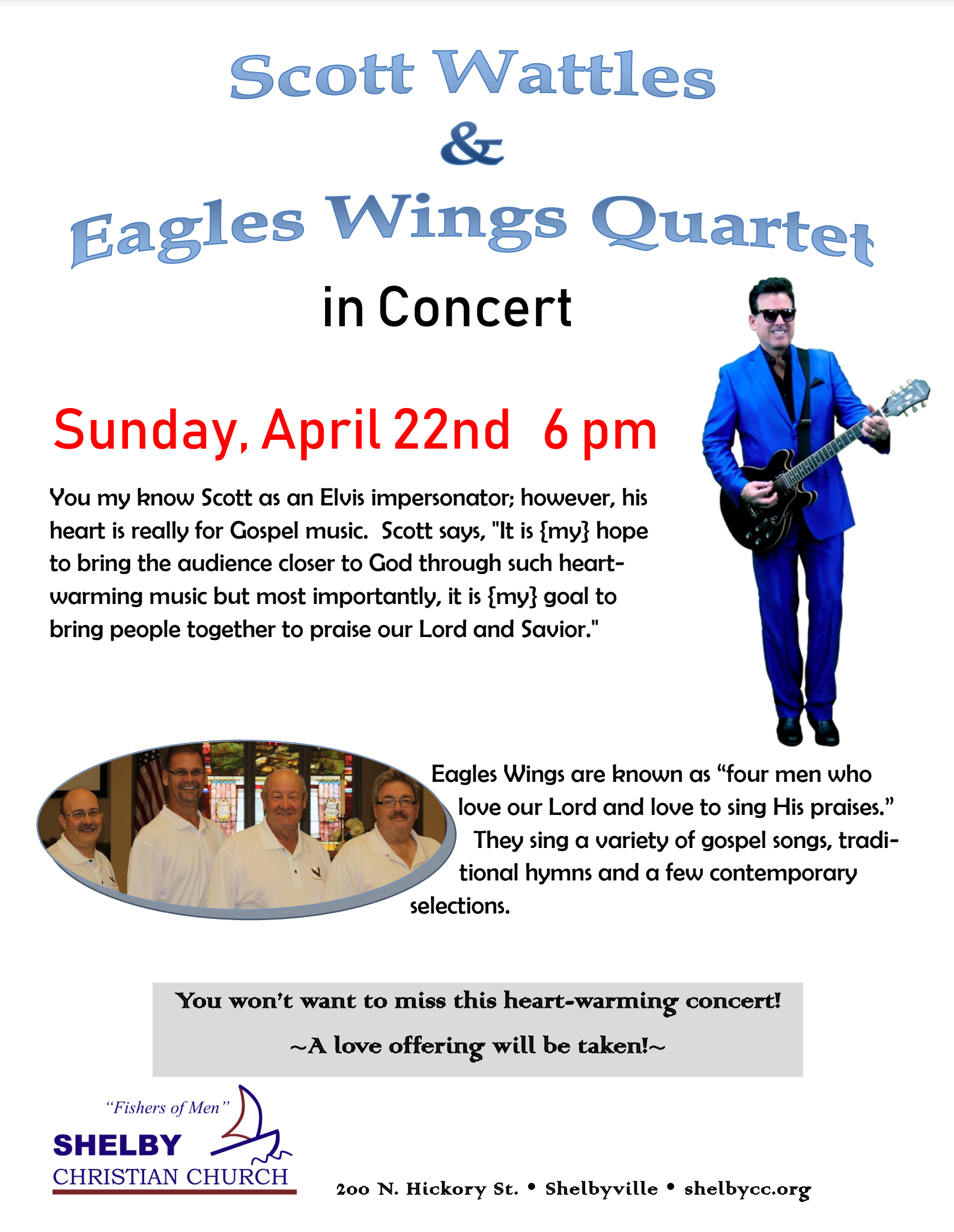 Scott Wattles and Eagles Wings Quartet in Concert