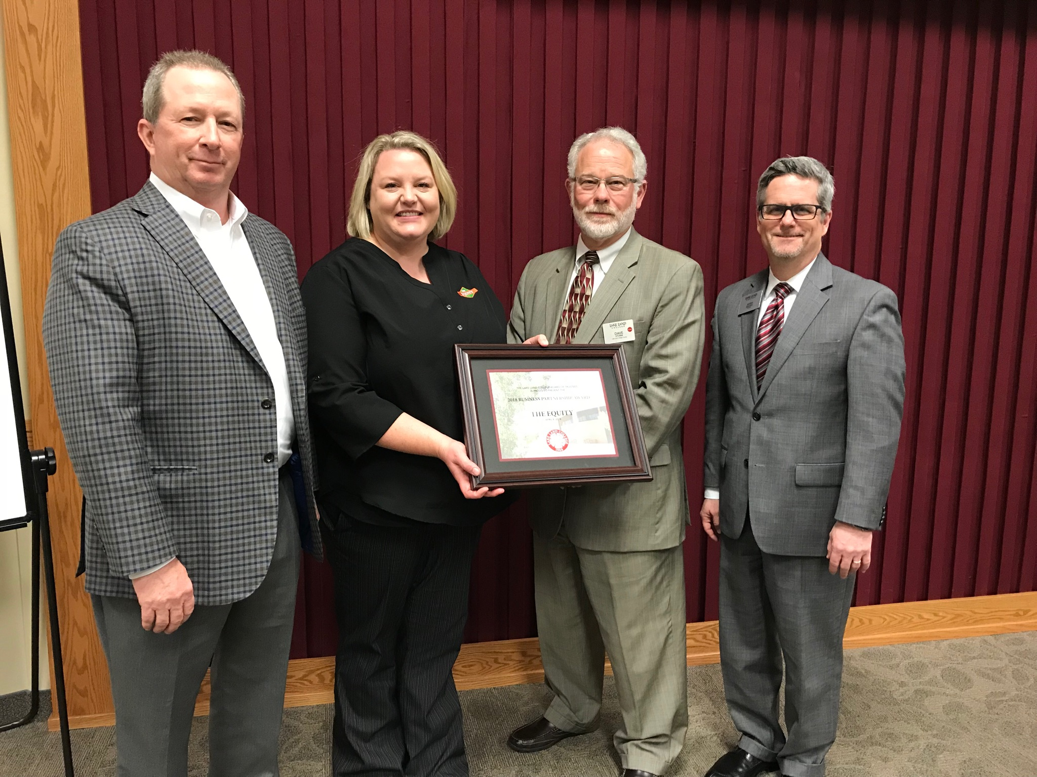 Lake Land College's Business Partnership Award presented to The Equity