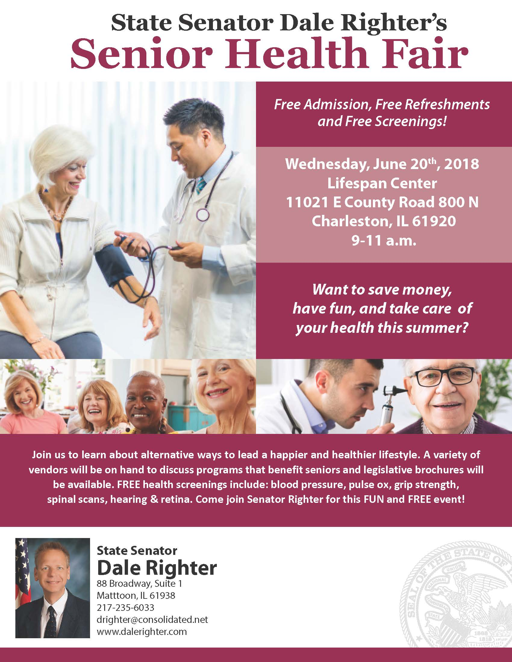 State Senator Righter to host Free Senior Health Fair at Lifespan Center