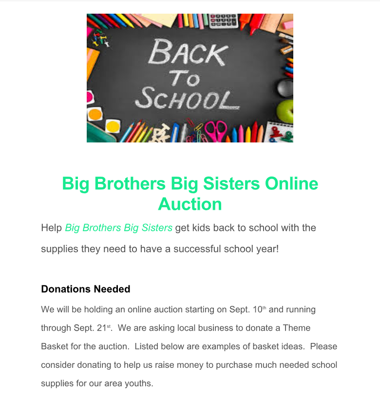 Donations Needed for Big Brothers Big Sisters Online Auction