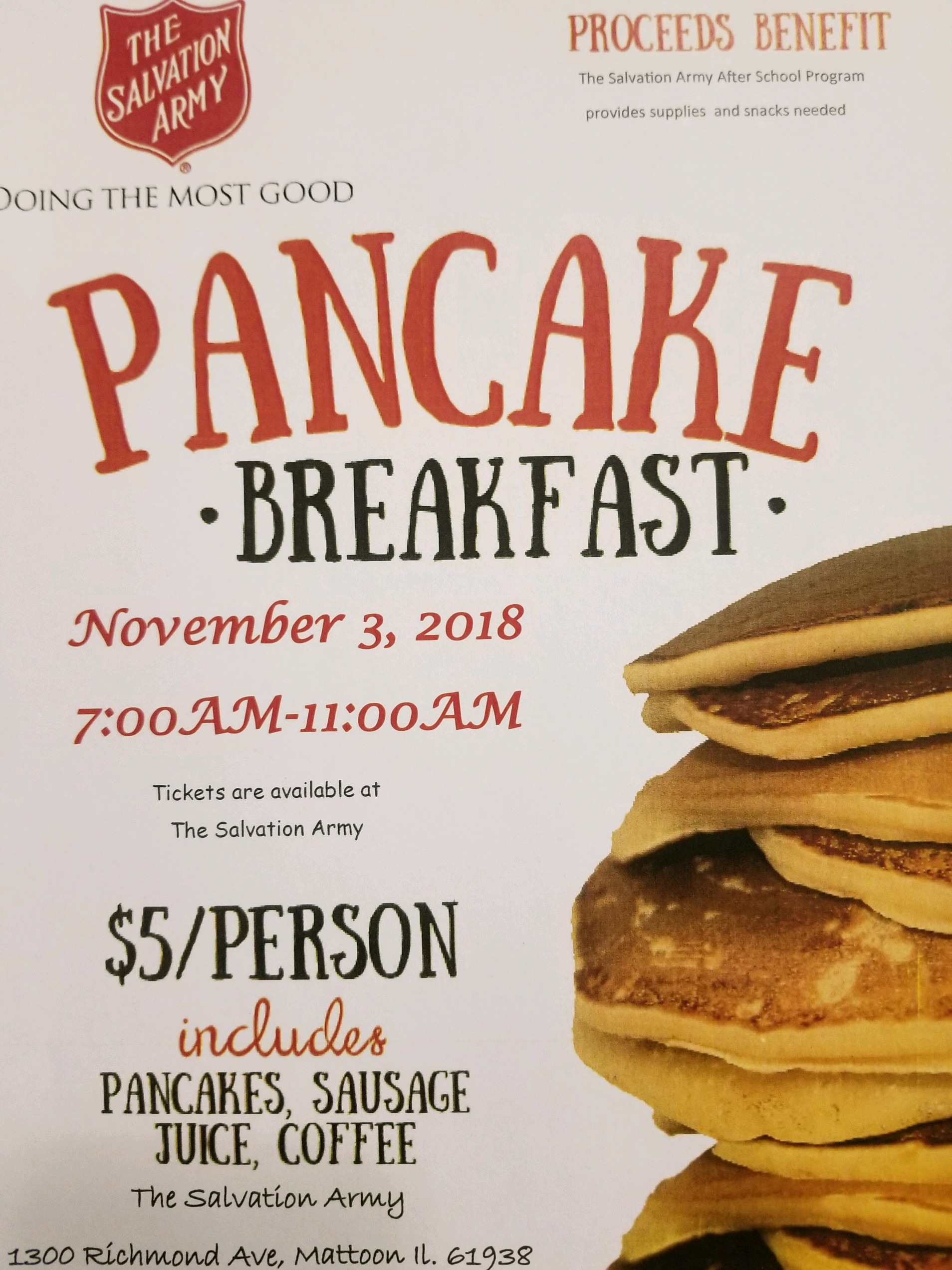 Salvation Army Pancake and Sausage Breakfast