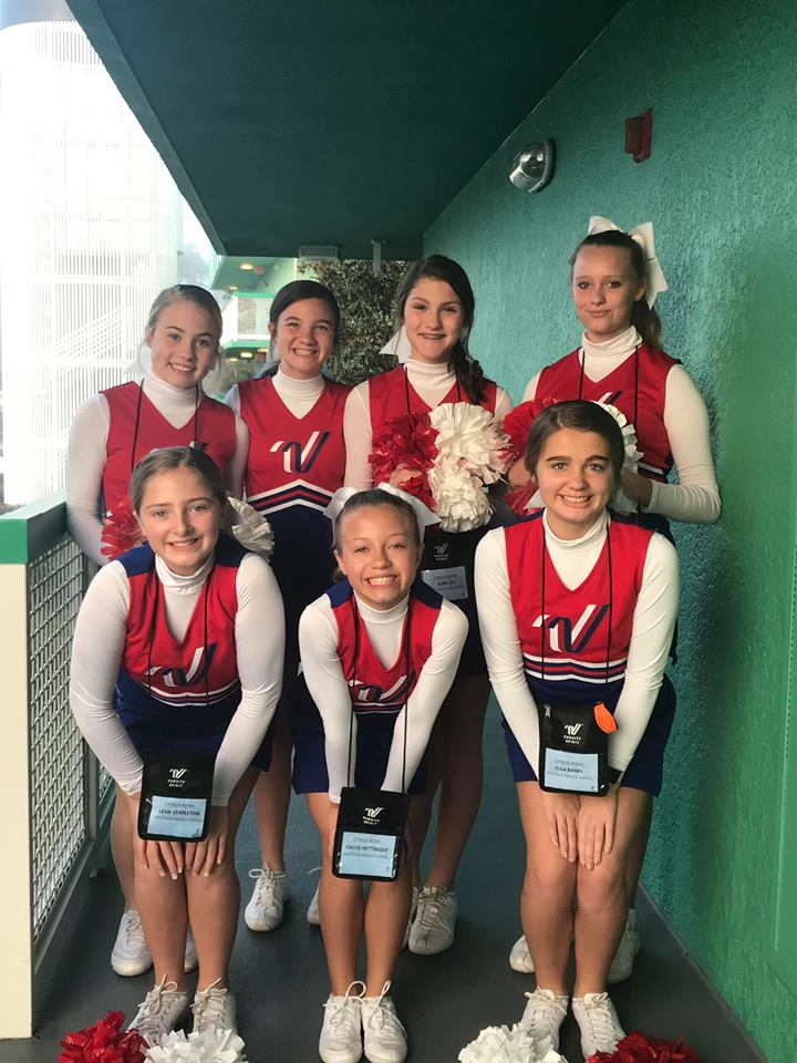 Seven cheerleaders from Mattoon Middle School perform at Citrus Bowl on New Year's Day