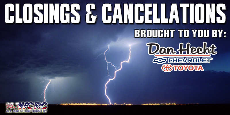 Cancellations For May 3rd