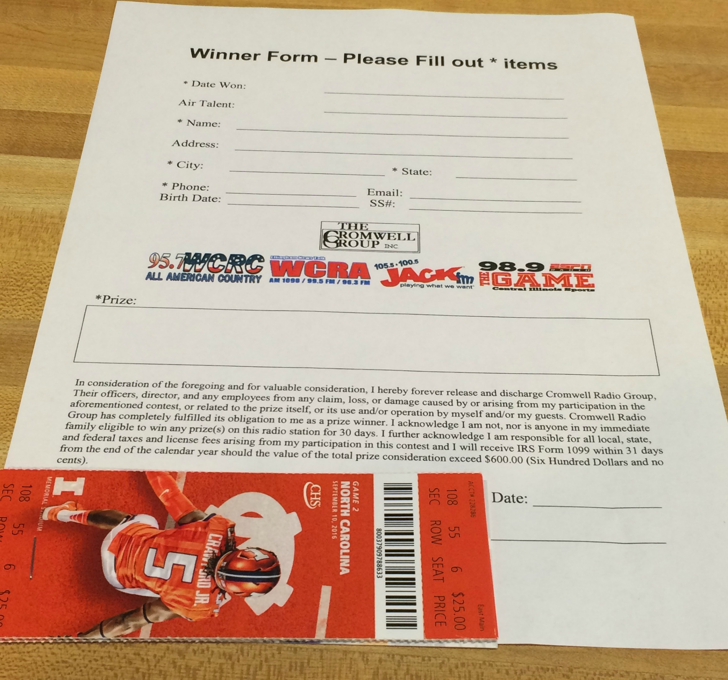 4 Pack of University of Illinois Tickets