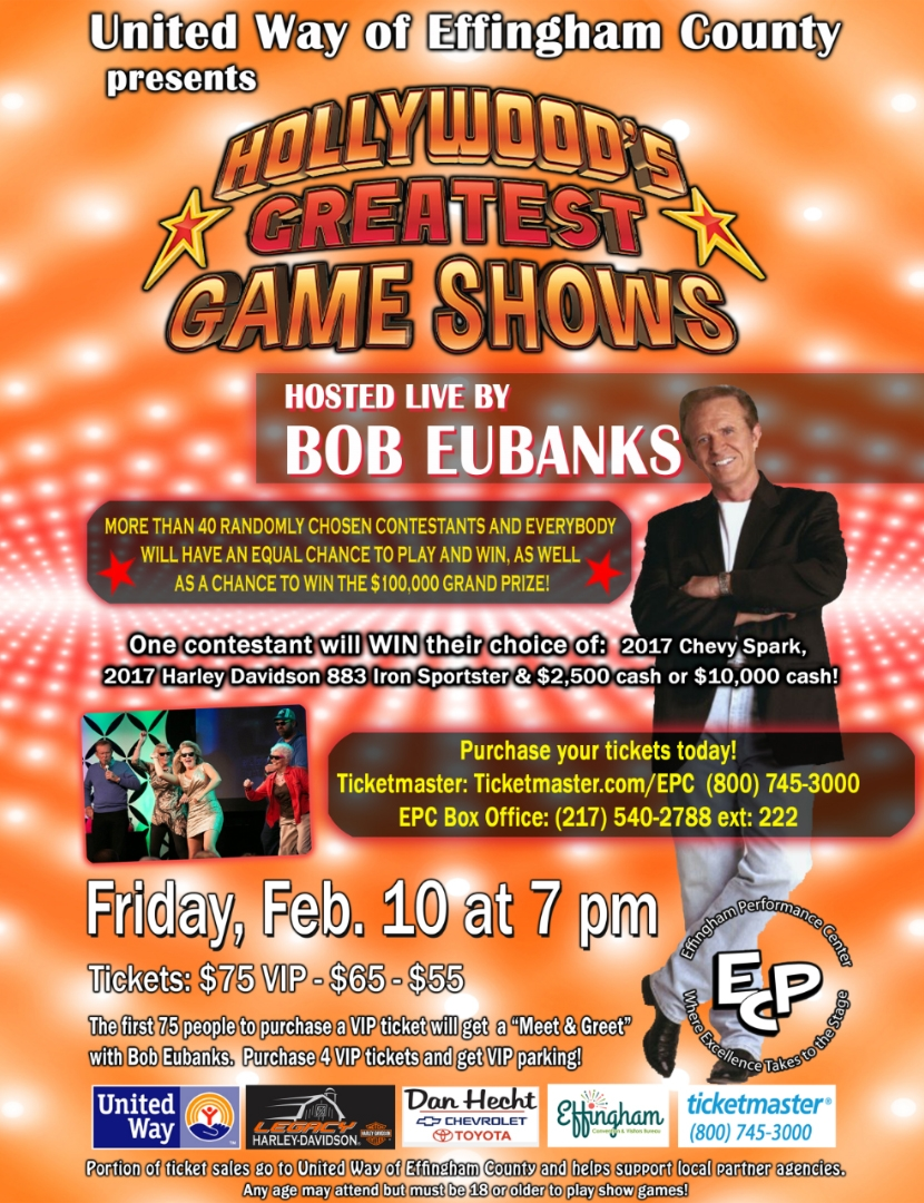 """United Way of Effingham County to Present """"Hollywood's Greatest Game Shows"""" on Friday"""