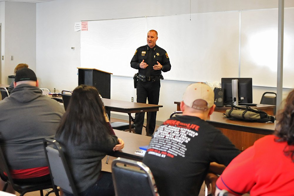 Chief Fuesting Visits Rend Lake College Criminal Justice Students