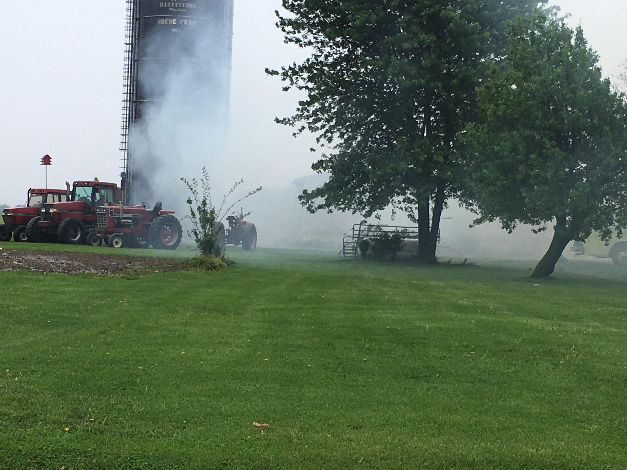 Sigel Fire Department Battling Machine Shed Fire