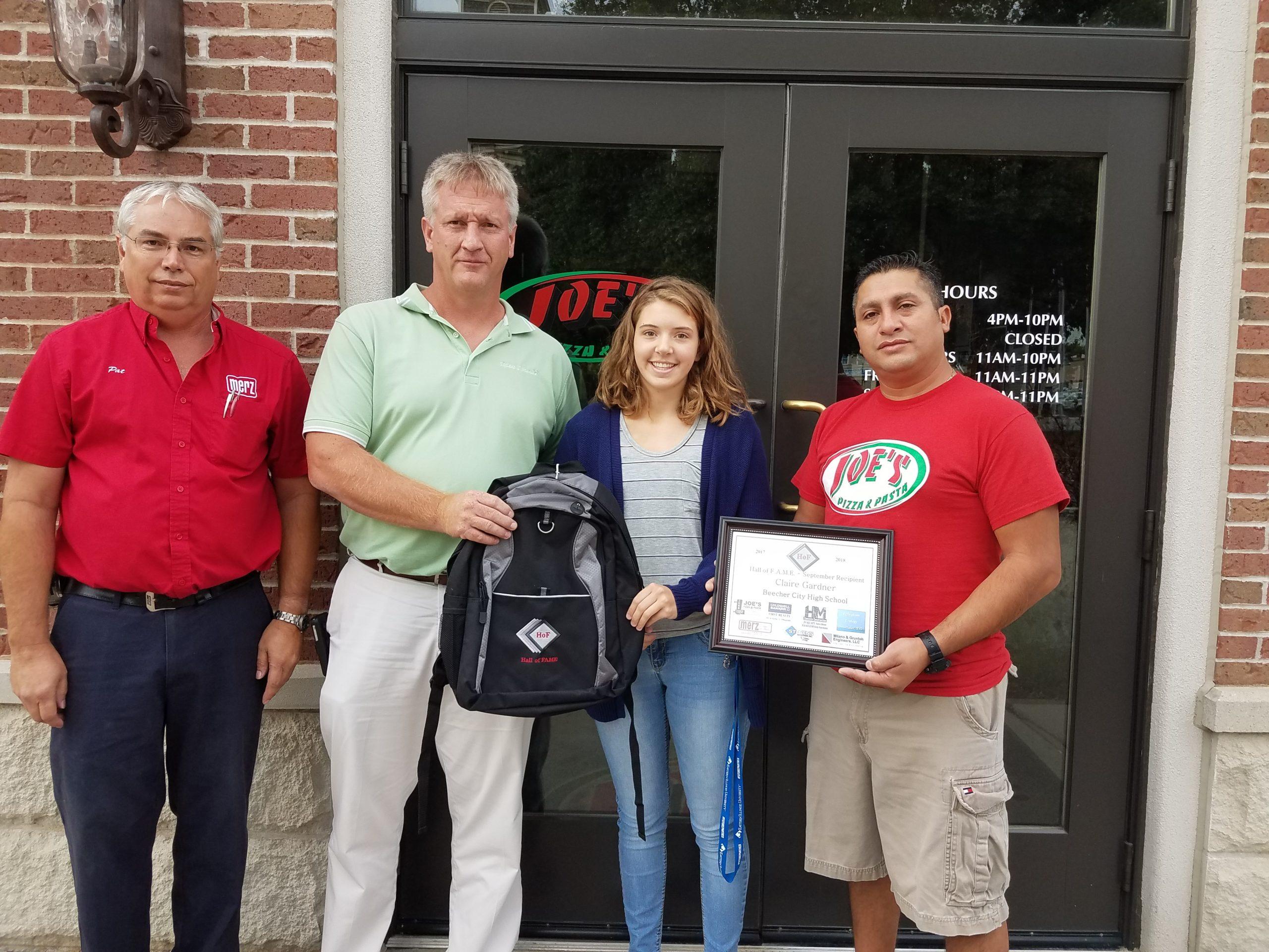 Beecher City High School Student Awarded September Hall of FAME Award