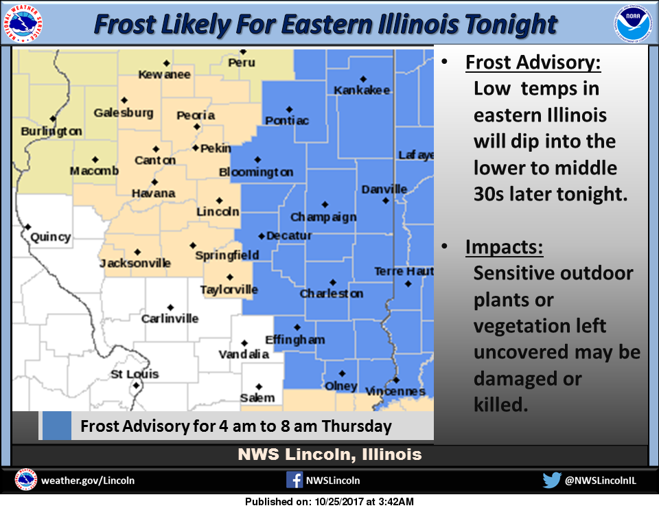 First Frost of the Fall Expected/Frost Advisory for Listening Area