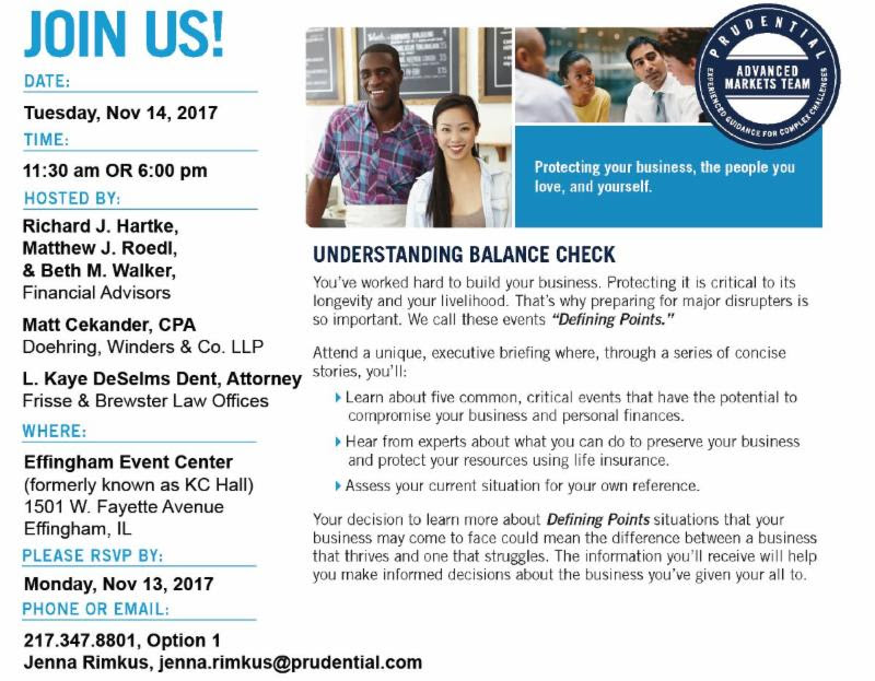 """Effingham Chamber of Commerce in partnership with Prudential Insurance to Host """"Defining Points"""" Seminar"""
