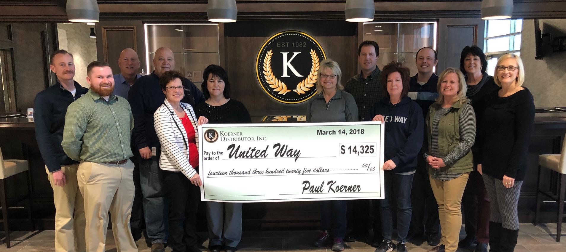Koerner Distributor, Inc. Donates to United Way of Effingham County