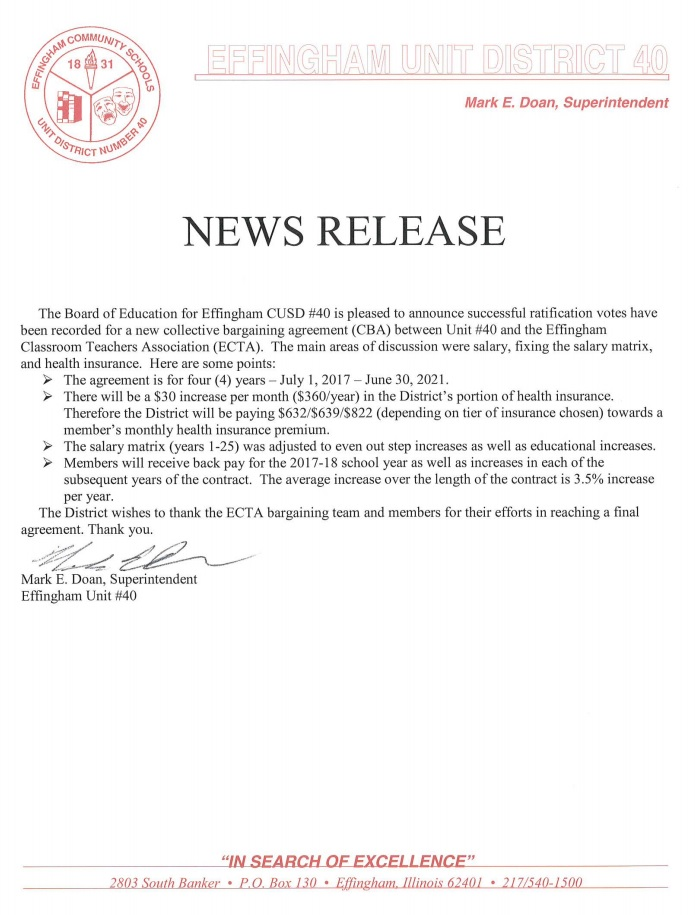 Effingham Board Of Education Ratifies New Collective Bargaining
