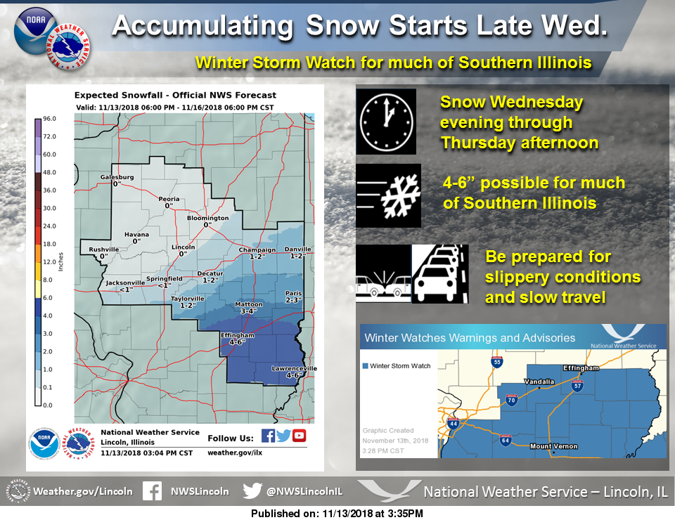Several Inches Of Snow Possible Winter Storm Watch Issued For